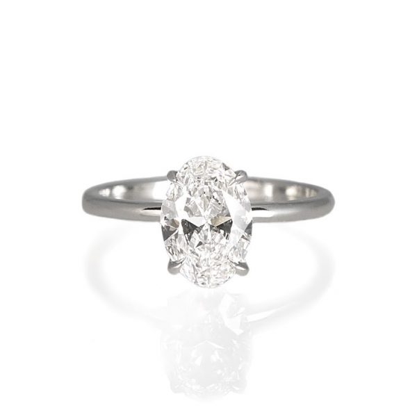 Laura Oval Solitaire Diamond Engagement Ring-0