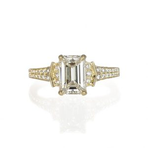 Lauren Emerald Cut Diamond And Pavé Engagement Ring-0