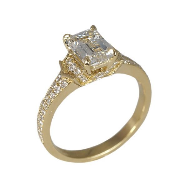 Lauren Emerald Cut Diamond And Pavé Engagement Ring-1416