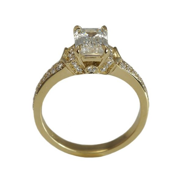 Lauren Emerald Cut Diamond And Pavé Engagement Ring-1415