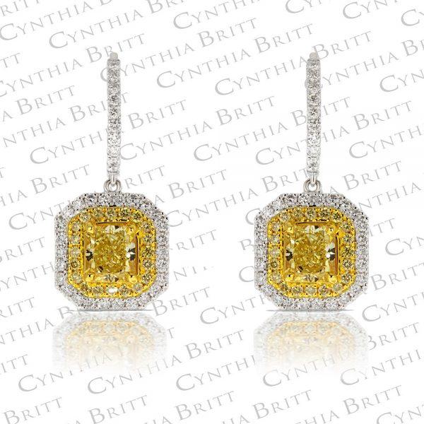 Fancy Intense Yellow Drop Earrings-0