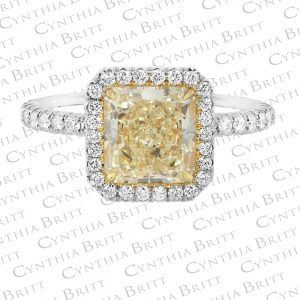 Platinum And Gold Diamond halo Ring-0