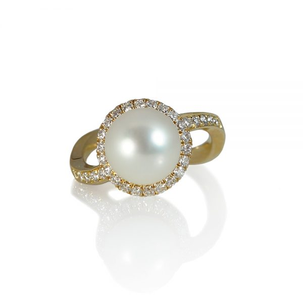 Ana Diamond Halo and Pearl Engagement Ring-0