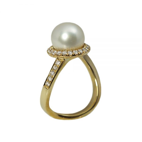 Ana Diamond Halo and Pearl Engagement Ring-1559