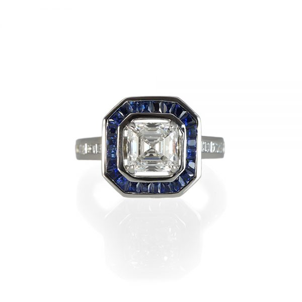 Lori Asscher Cut Diamond and Sapphire Halo Ring-0