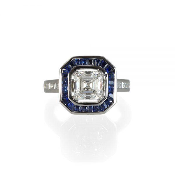 Lori Asscher Cut Diamond and Sapphire Halo Ring-0