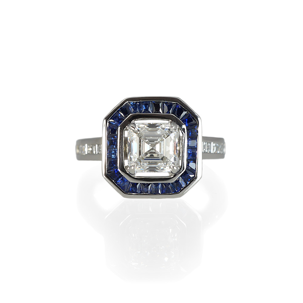 ring white asscher sapphires sapphire in setting engagement cut pin with gold tcw diamond