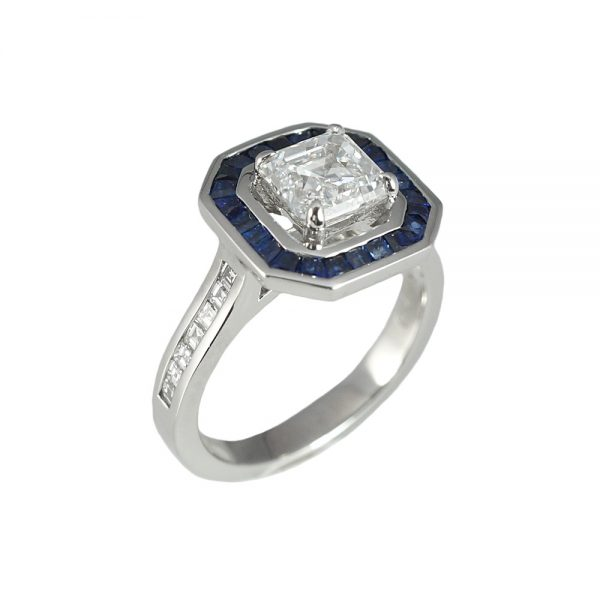 Lori Asscher Cut Diamond and Sapphire Halo Ring-1550