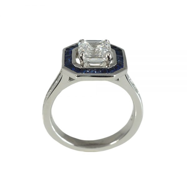 Lori Asscher Cut Diamond and Sapphire Halo Ring-1549