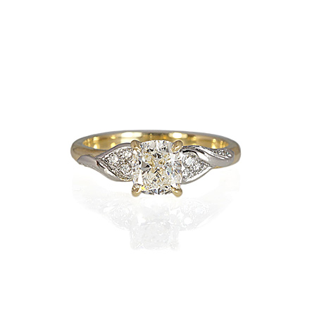 gold and platinum engagement ring