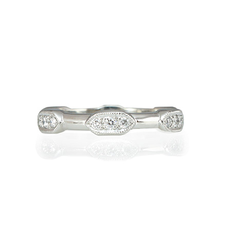Platinum and Diamond Scalloped Wedding Band