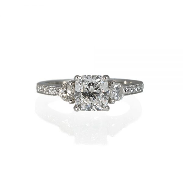 Alex Cushion Cut Engagement Ring With Pavé Band-0