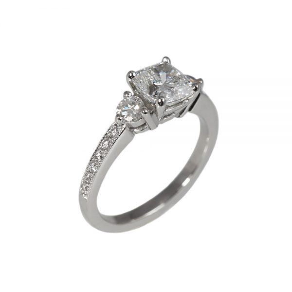 Alex Cushion Cut Engagement Ring With Pavé Band-1592