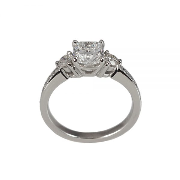 Alex Cushion Cut Engagement Ring With Pavé Band-1591