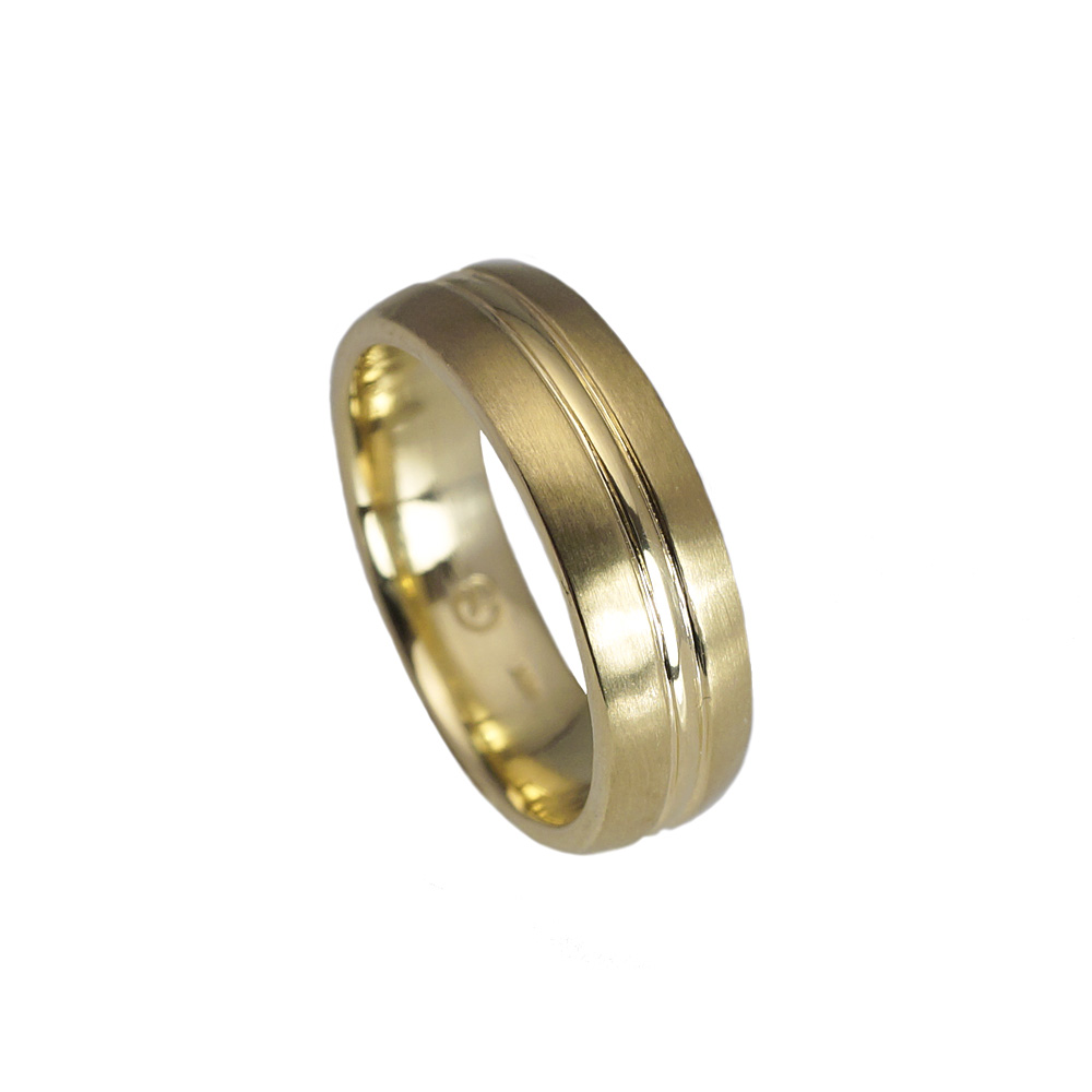 Cynthia Britt Andrew Mens Green Gold Wedding Ring