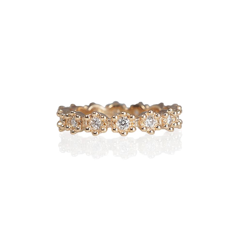 Cynthia Britt Christa Flower Diamond Eternity Wedding Ring