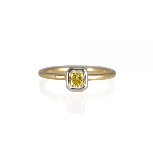 Two-Tone Fancy Yellow Diamond Solitaire Ring-0