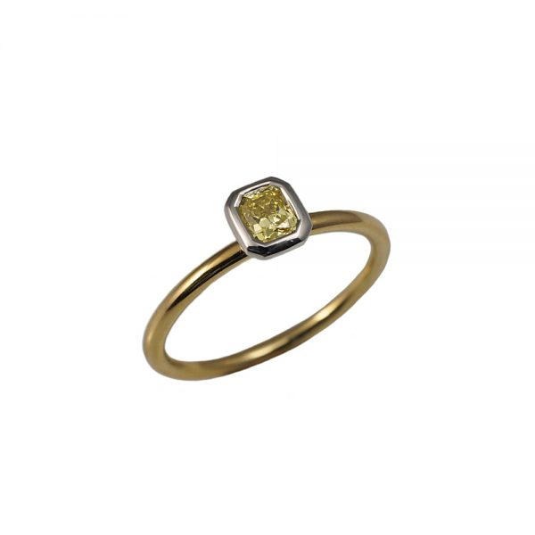 Two-Tone Fancy Yellow Diamond Solitaire Ring-1575