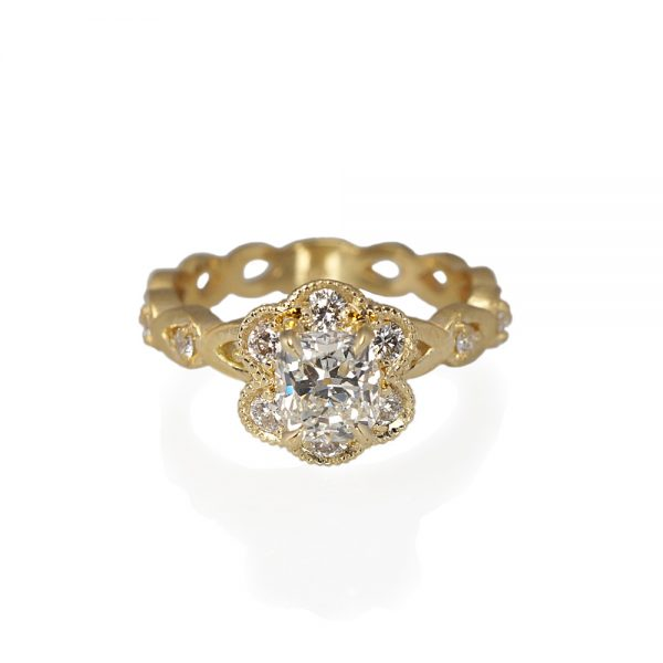 Kelsey Floral Yellow Gold Engagement Ring-0