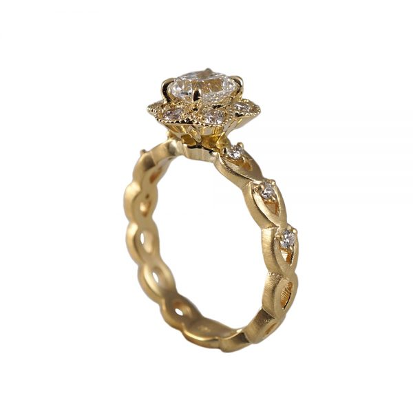 Kelsey Floral Yellow Gold Engagement Ring-1582
