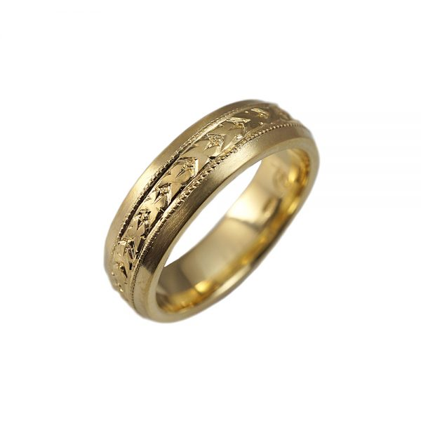 Nils Hand Engraved Green Gold Men's Wedding Band-1586