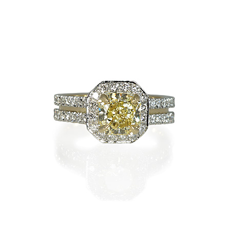 two tone fancy yellow engagement ring