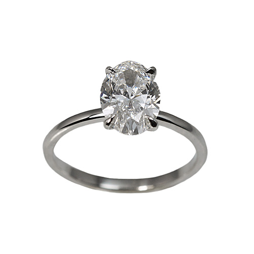 Platinum Oval Cut Solitaire Diamond Engagement Ring