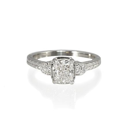 platinum vintage inspired engagement ring
