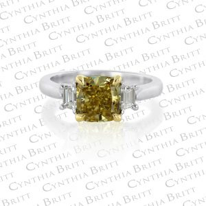 Cushion Cut 2.03 carat, Fancy Deep Yellow Diamond Ring-0