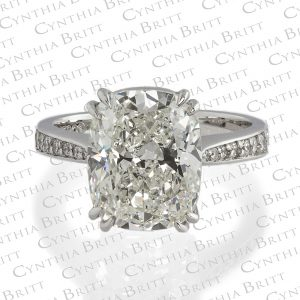 Cushion Cut 5.45 Carat Diamond Platinum Ring-0