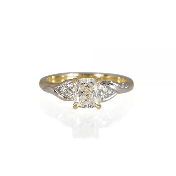 Laura Gold And Platinum Leaf Engagement Ring-0