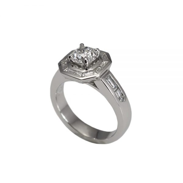 Sarah Baguette Halo Engagement Ring-1599