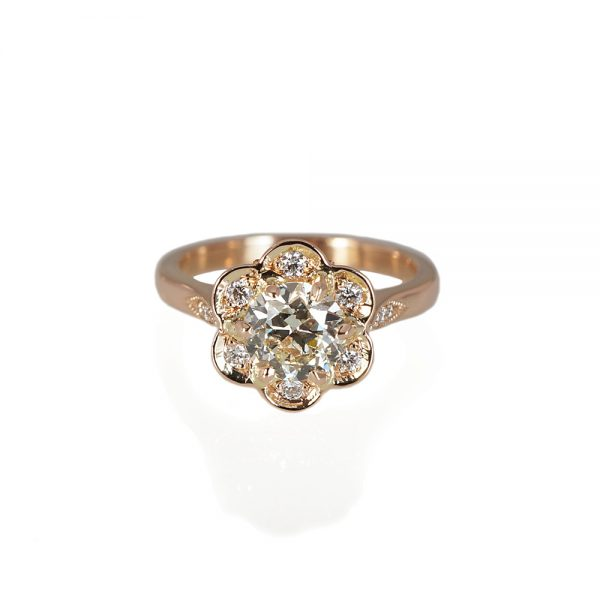 Stephanie Floral Rose Gold Engagement Ring-0