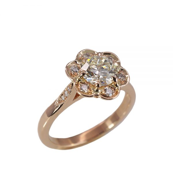 Stephanie Floral Rose Gold Engagement Ring-1601