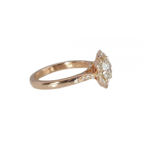 Stephanie Floral Rose Gold Engagement Ring-1602