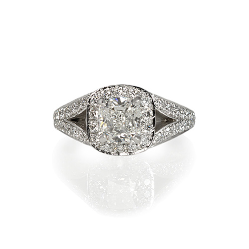 Cushion Cut Diamond Pavé Engagement Ring