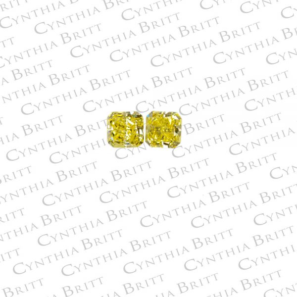 Fancy Intense Yellow Radiant Cut diamonds 1.17 Carat Total-0