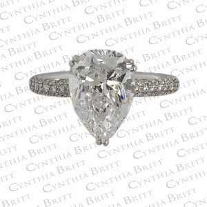 4.02 Carat Pear Shape Diamond Pavé Ring-0