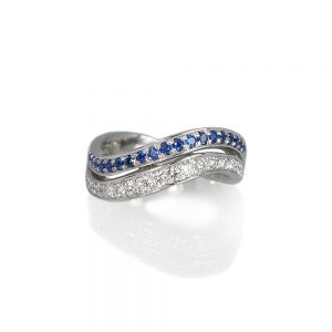 Whitney Sapphire And Diamond Wedding Band-0