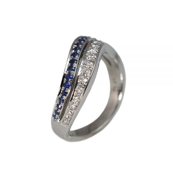 Whitney Sapphire And Diamond Wedding Band-1565