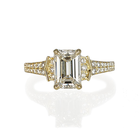 Yellow Gold Emerald Cut Diamond And Pavé Engagement Ring