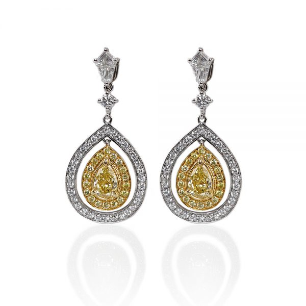 Fancy Yellow And Kite Diamond Drop Earrings-0