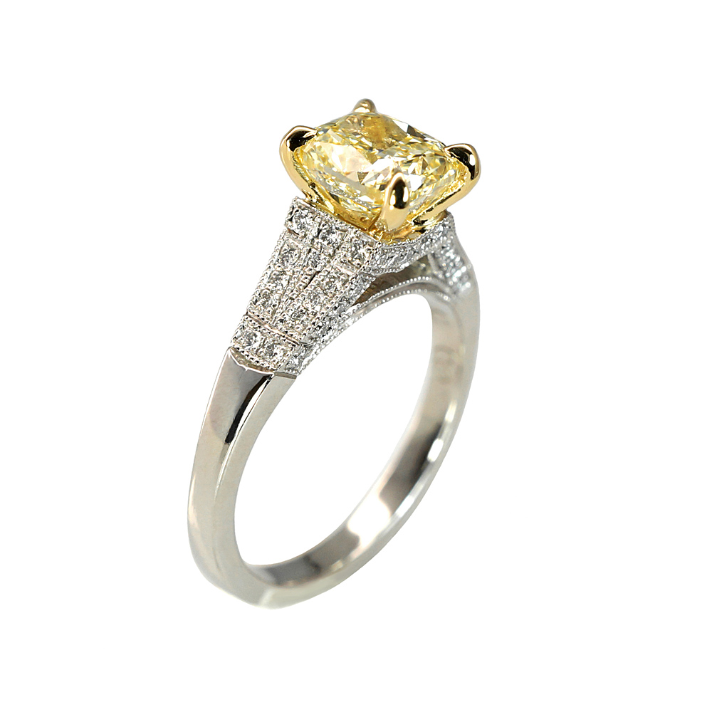 clarity style natural engagement fancy vintage cut fd diamond carat ring radiant rings color yellow