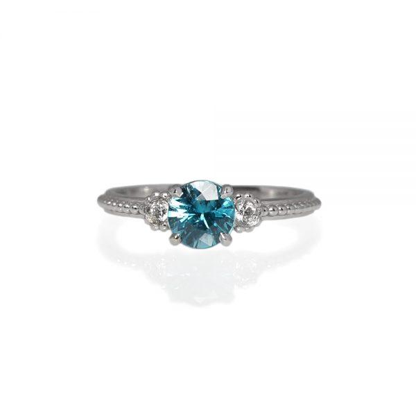 T'nika Blue Zircon And Diamond Engagement Ring-0