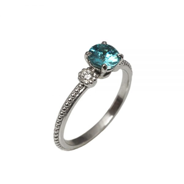 T'nika Blue Zircon And Diamond Engagement Ring-1663