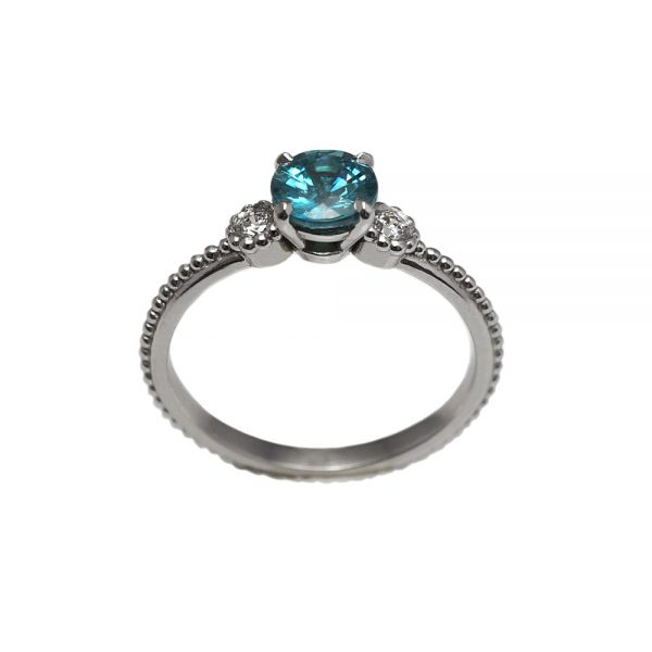 T'nika Blue Zircon And Diamond Engagement Ring-1662