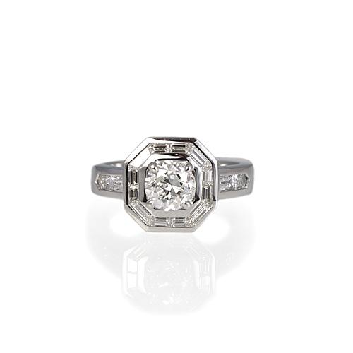 Art-Deco inspired Diamond Halo Engagement Ring
