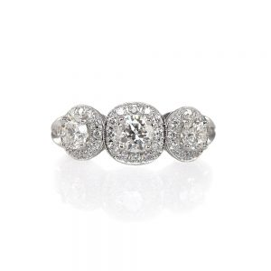 Alexandra Three-Stone Diamond Halo Engagement Ring-0
