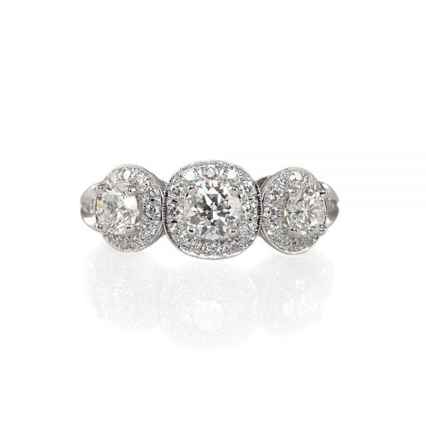 Alexandra Three-Stone Diamond Halo Engagement Ring-0
