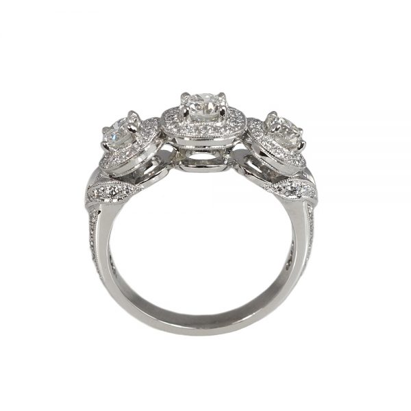 Alexandra Three-Stone Diamond Halo Engagement Ring-1697